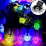 GESIMEI 10M 50LED Solar Globe Fairy String Light Indoor/Outdoor Waterproof Landscape Multicolor Lighting Decorative Crystal Ball Lamps for Christmas Patio Garden Tree Stage House Wedding Party