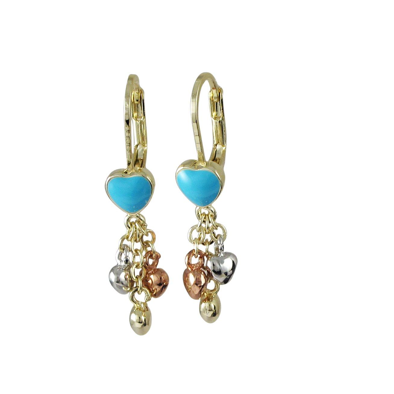 Ivy and Max Tri-color Gold Finish Aqua Blue Enamel Hearts Girls Dangle Earrings