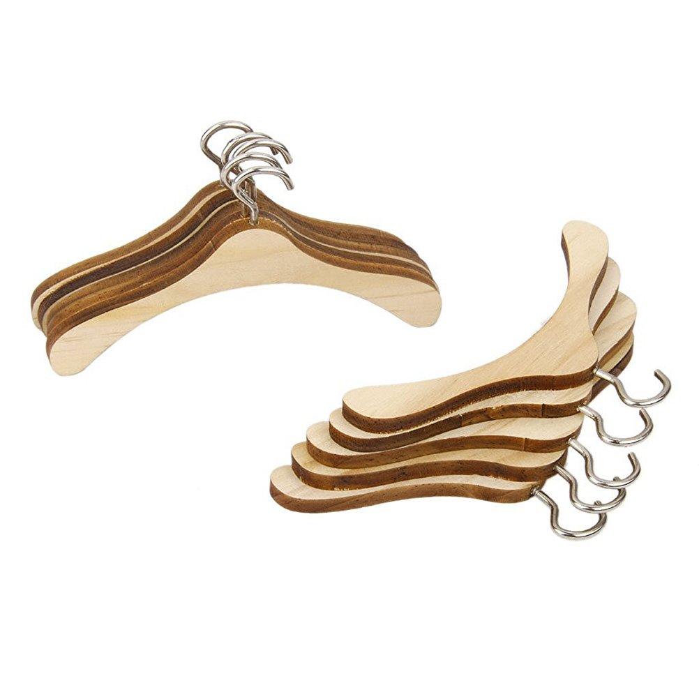 NUOLUX Cintres Miniatures de Vêtement de Poupée en bois Accessoires pour Maison de Poupée Pack de 10
