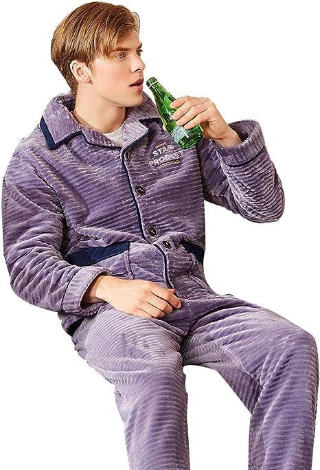 Pijamas Moda púrpura Hombres Coral de Terciopelo Manga Larga ...