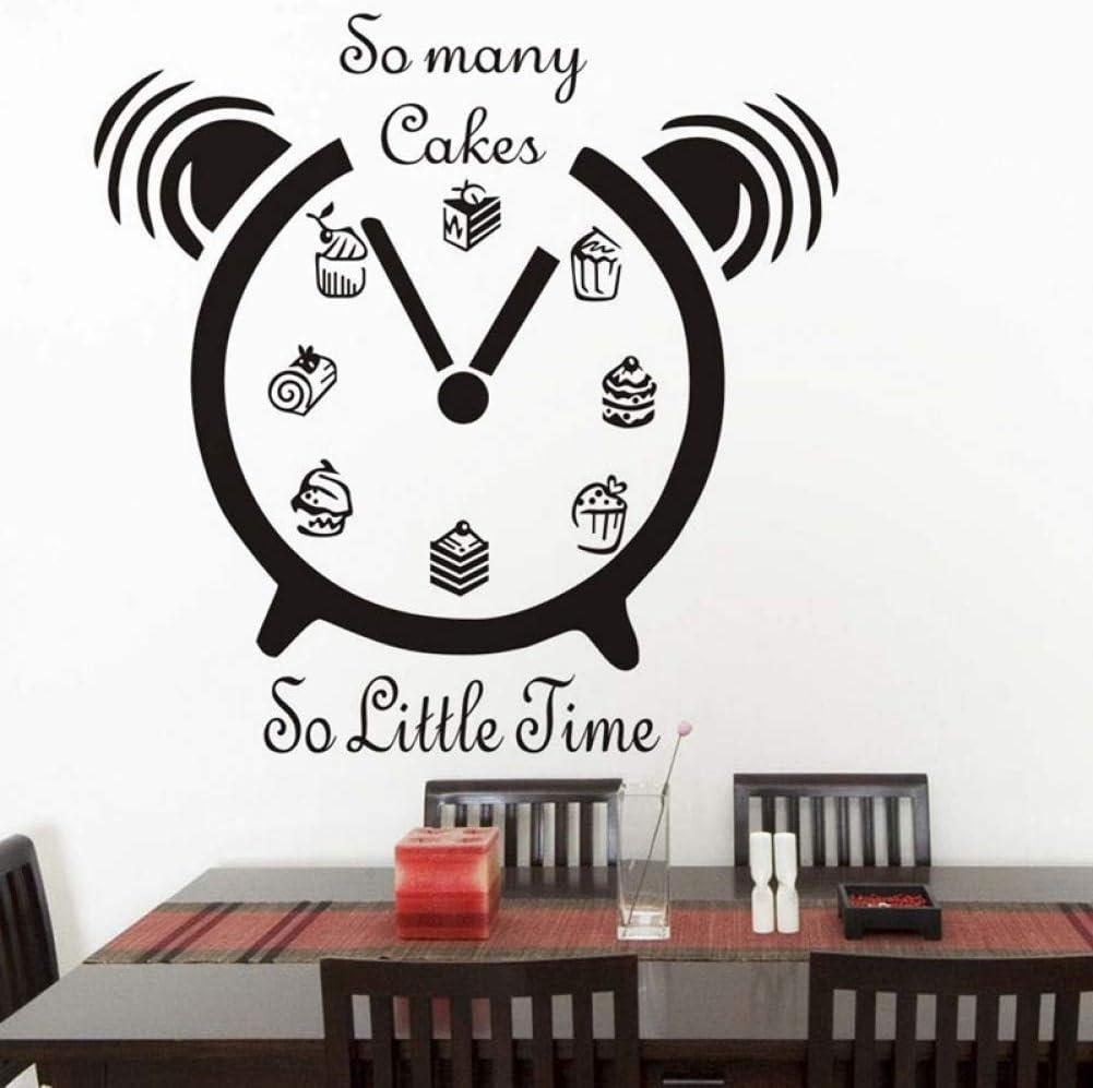 Amazon キッチン目覚まし時計スナックパターンウォールステッカーそんなに多くのケーキ59 Cm X 59 Cm 置き時計 掛け時計 オンライン通販