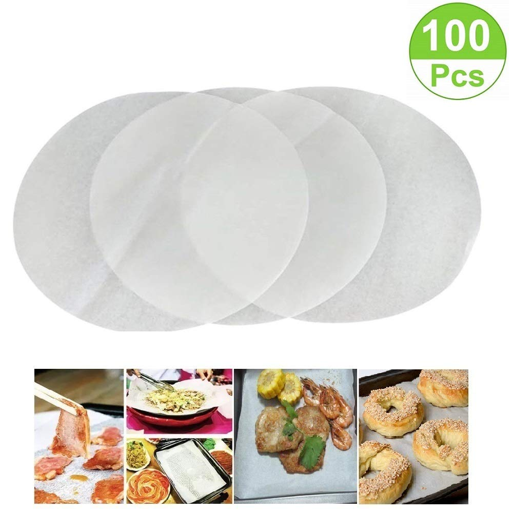 (Set of 100) Non-Stick Round Parchment Paper 9 inch Diameter, Baking Paper Liners for Round Cake Pans Circle Mity Rain