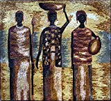 Mozaico - African Human Forms Scene Mosaic Marble and Natural Stones Handmade Artwork Design MS155