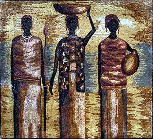 Mozaico - African Human Forms Scene Mosaic Marble and Natural Stones Handmade Artwork Design MS155 by Mozaico