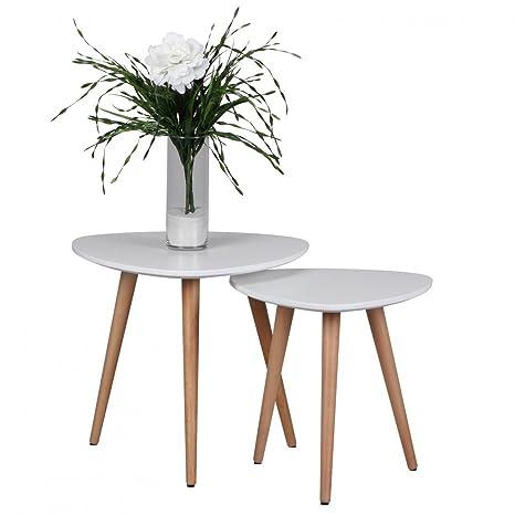Design Beistelltisch 2er Set SKANDI Form Dreieck Skandinavischer Retro Look  Satztisch | Matt Lackierter Wohnzimmertisch mit Holz-Gestell | Wohnzimmer  ...