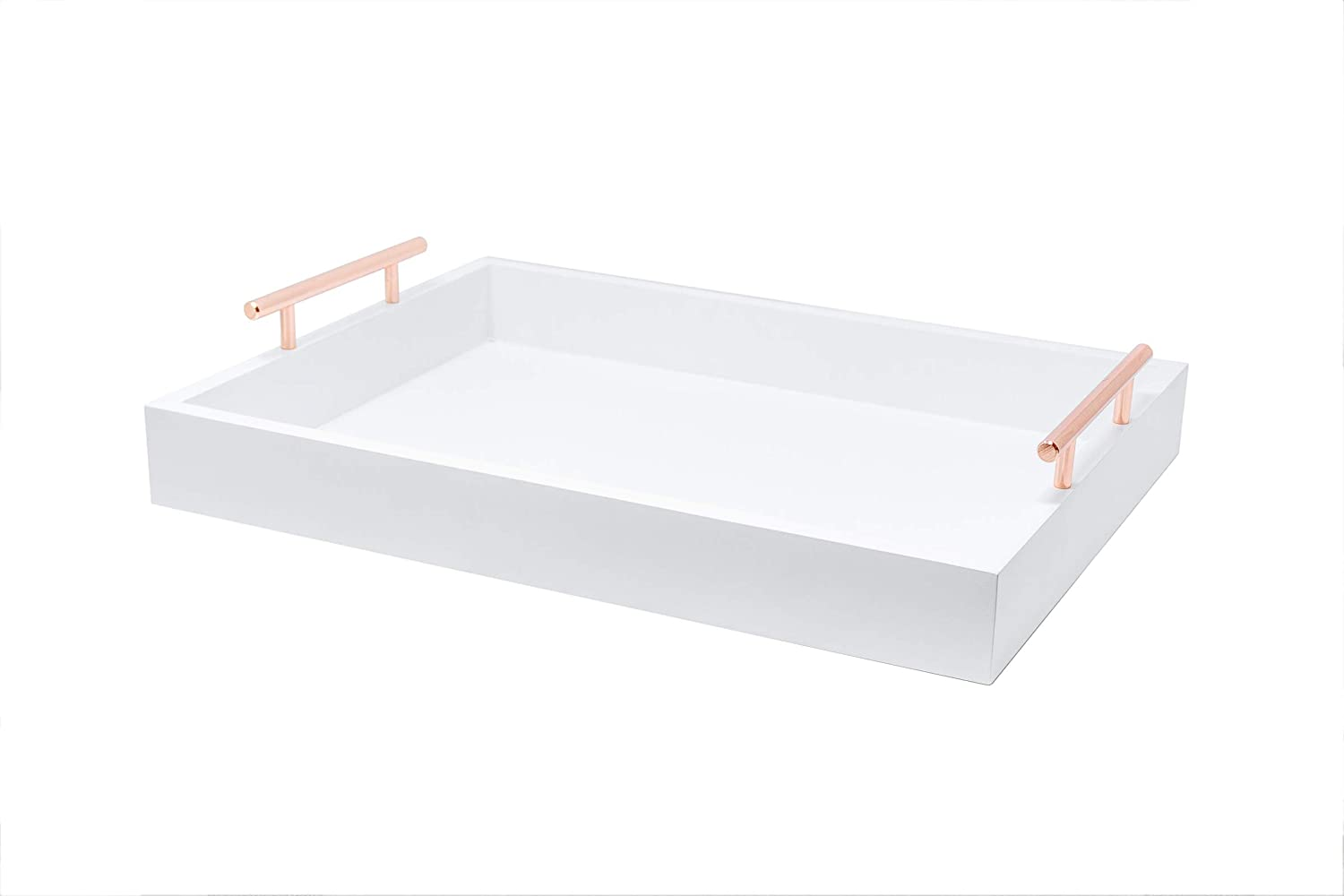 Home Decor White Tray with Rose Gold Handles for Coffee Table Or Ottoman Serving Tray