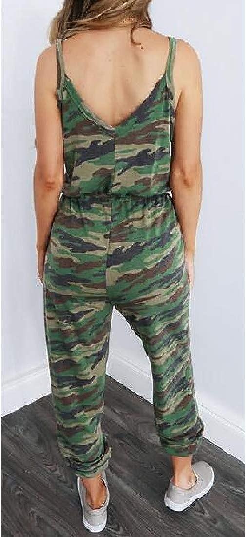SHOWNO Womens Summer Jogger Pants Spaghetti Strap Camo Print V Neck Jumpsuit Romper