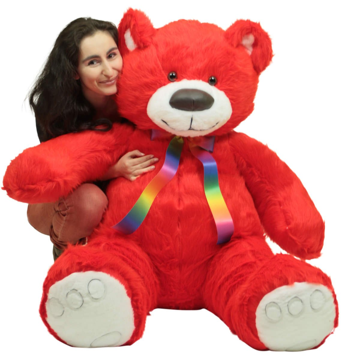 Big Plush Personalized Giant 5 Foot Red Teddy Bear, Soft Life Size Stuffed Animal Made in USA, Removable Neck Ribbon Customized with Your Message by Big Plush