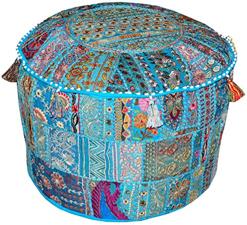 Vintage Indian,Cotton Ottoman patchwork Pouf Cover,Home Decor Pouf Cover,Living-Room 23x13 by RAGHAV CRAFTS