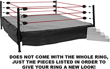 Amazon Com Figures Toy Company Wrestling Ring Conversion Kit Deal 5 Black Gray Bad Attitude Deal With Red Ropes Toys Games