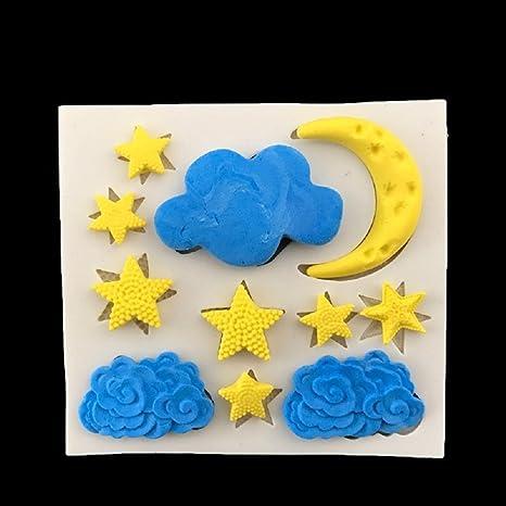 Youkara Moon Star Cloud Molde de Pastel de Silicona Líquida Molde de Silicona Para Hornear Líquido