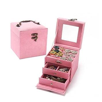 ... de regalo de princesa europea, tres capas de madera, caja de joyería portátil, cajas decorativas, caja de almacenamiento, color rosa: Amazon.es: Belleza