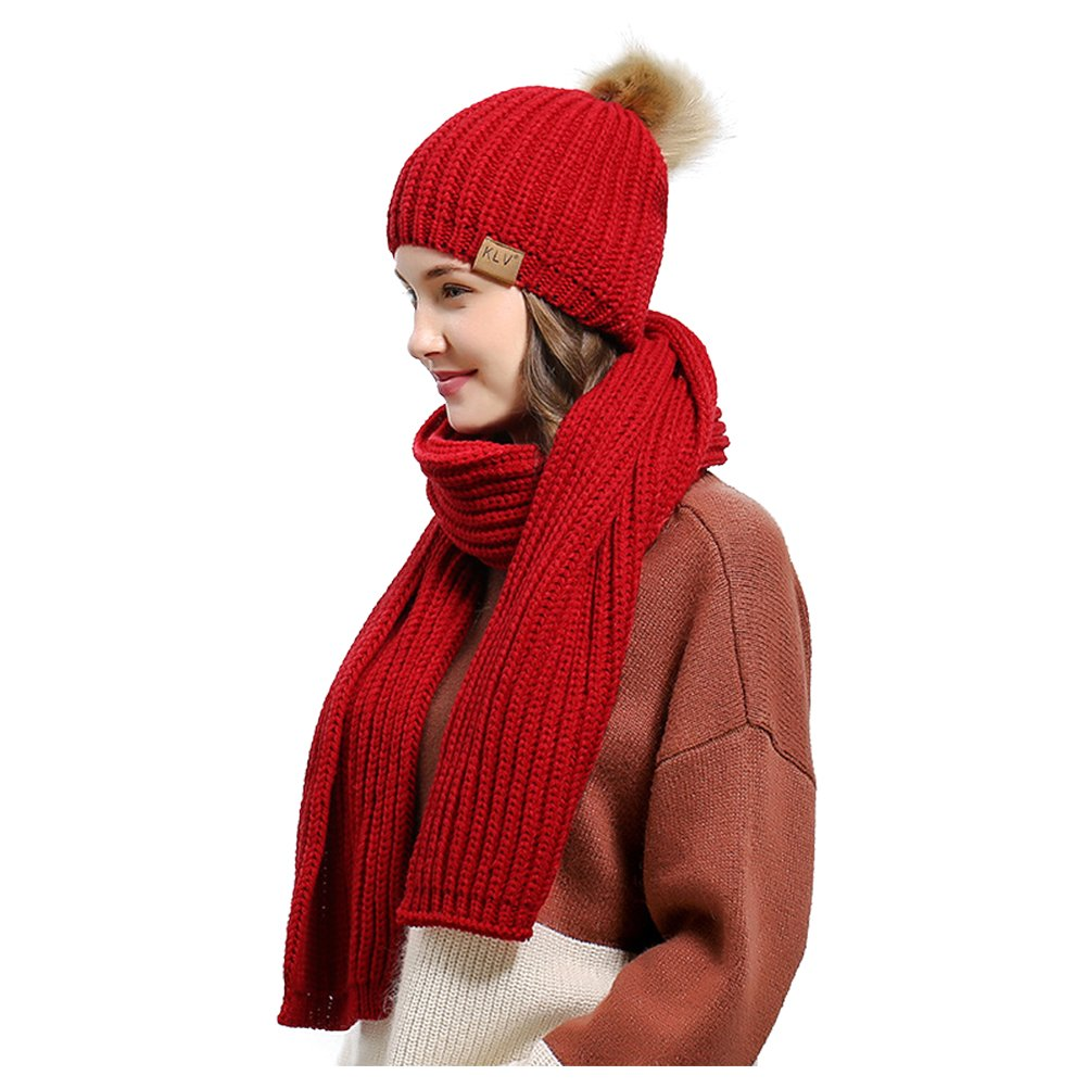 Jelinda Women's Autumn Winter Warm Knitted Hat and Scarf Set (Style 2 - Red) by Jelinda (Image #3)
