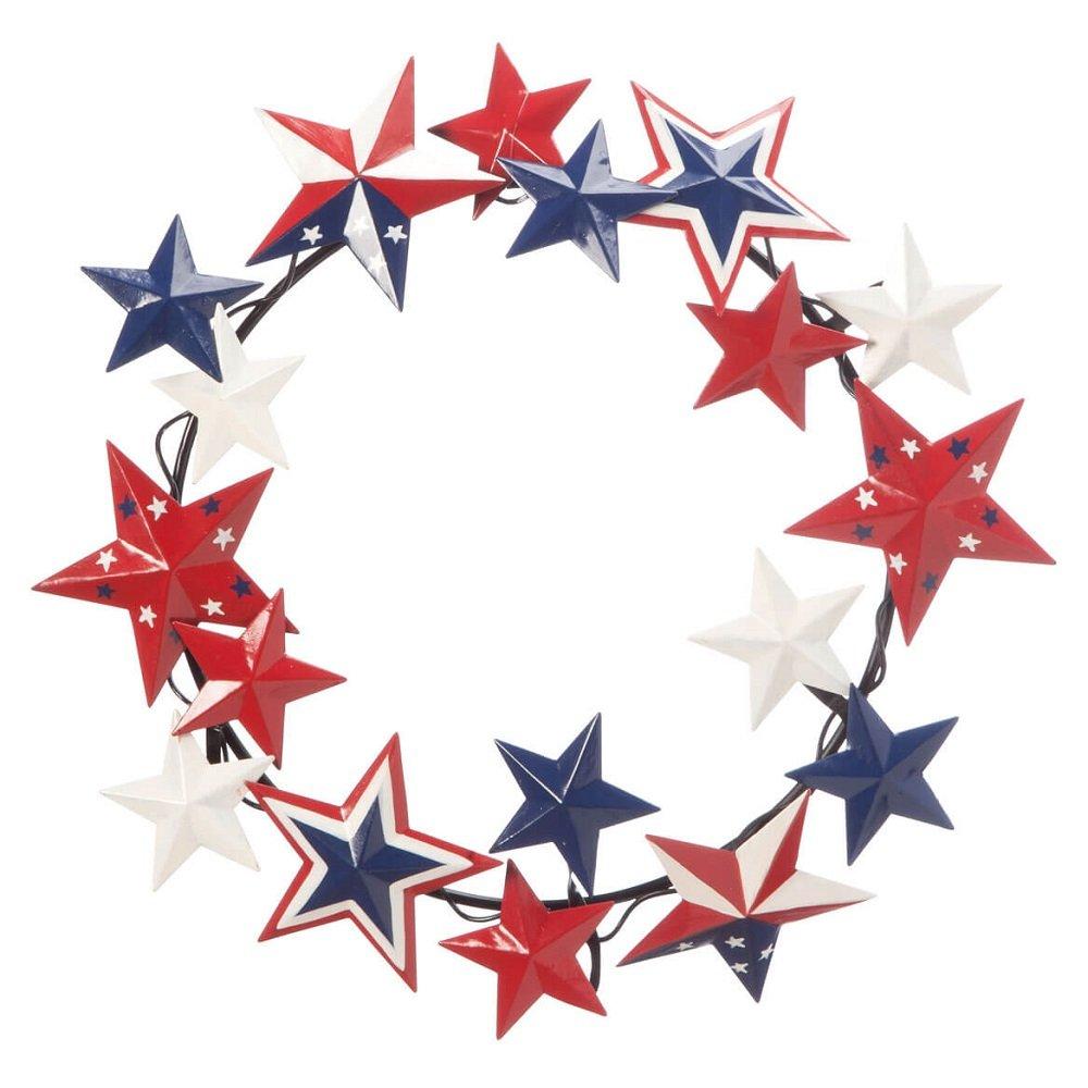 MS Home Patriotic American Star Metal Wreath in 11'' dia - Indoor, Outdoor, Hand-painted, Classic Design