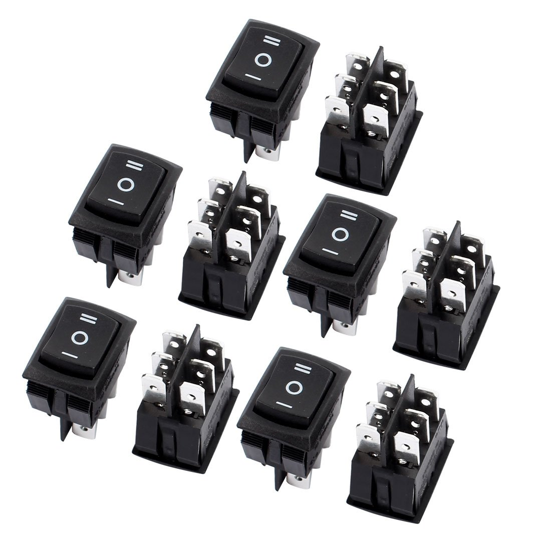 Uxcell 10 Pcs Dpdt On Off 3 Position Snap In Boat Miniature Toggle Switch Spst Onoff Rocker 10a 250v 125v Ac Home Improvement