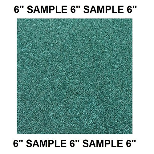 Moss Stair Tread - SAMPLE (6 inch) - Dog Assist Carpet Stair Treads (Green & Blue Shades)- SHAW Orchard Mills II 30 Oz. Cut Pile (Carribean Ocean Teal Blue - SAMPLE SWATCH)