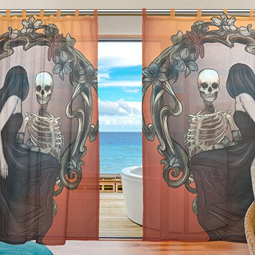 ALAZA Tulle Voile Sheer Curtains Vintage Chic Floral Skull Mirror Queen Semi Large Top Window Sheer Shower Curtains Cream Pinch Pleat Gauze Drapes Pair 2 Pieces 55x78 inch (Vintage Mirror Large Cream)
