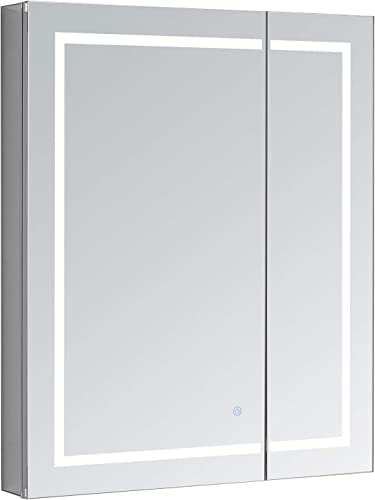 AQUADOM Royale Plus, 30in x 30in x 5in, LED Medicine Cabinet, Defogger, Touch Screen Button, Dimmer, Electrical Outlet