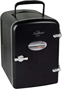 Koolatron KRT04-B 6 Can AC/DC Retro Electric Mini Cooler in Black (4.2 Quarts/4 Liters)