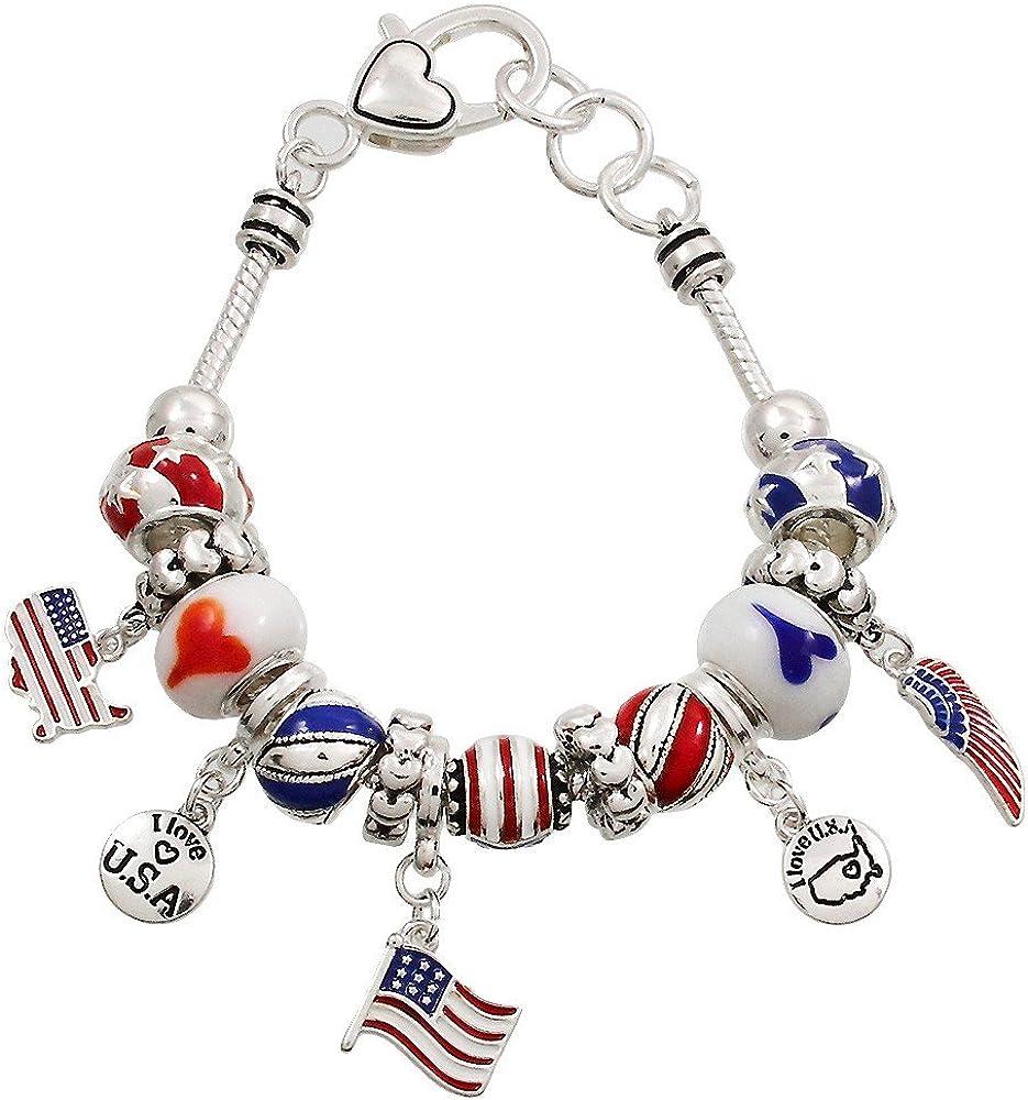 USA Charm Bracelet Beaded GOLD RED BLUE Flag Patriotic Celebrate Theme Jewelry