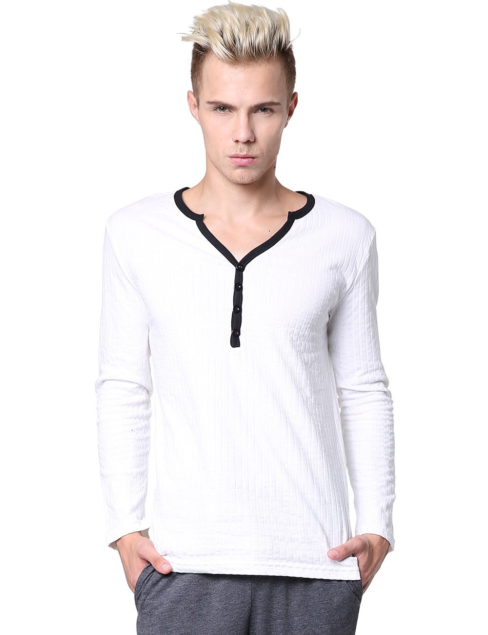 Godsen Men's Long Sleeve Henley Shirt Casual Pajama Tops GM00231