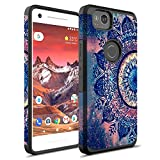 Google Pixel 2 XL Case, Rosebono Hybrid Dual Layer Shockproof Hard Cover Vintage Graphic Fashion Cute Colorful Silicone Skin For Google Pixel 2XL (Mandala)