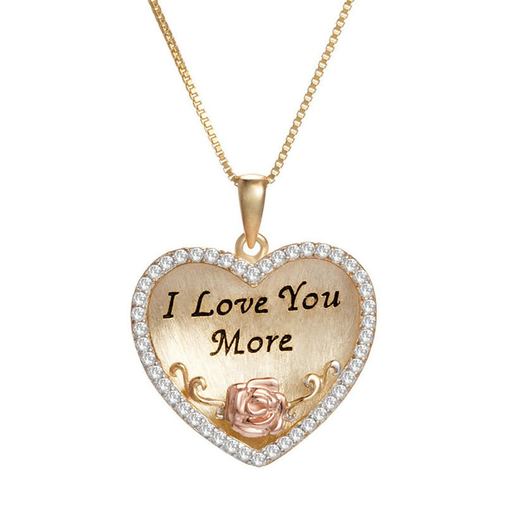 Flashing God I Love You More Necklace 925 Sterling Silver Love Heart Pendant Retro Classic Style