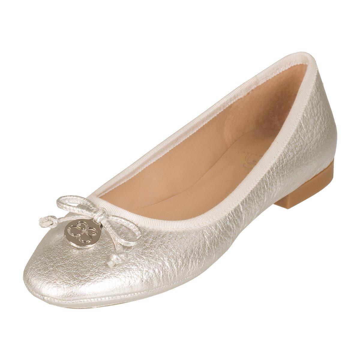 Andrew Stevens Women's Cara Bow Ballet Flat B077XP35JG 11 B(M) US|Silver