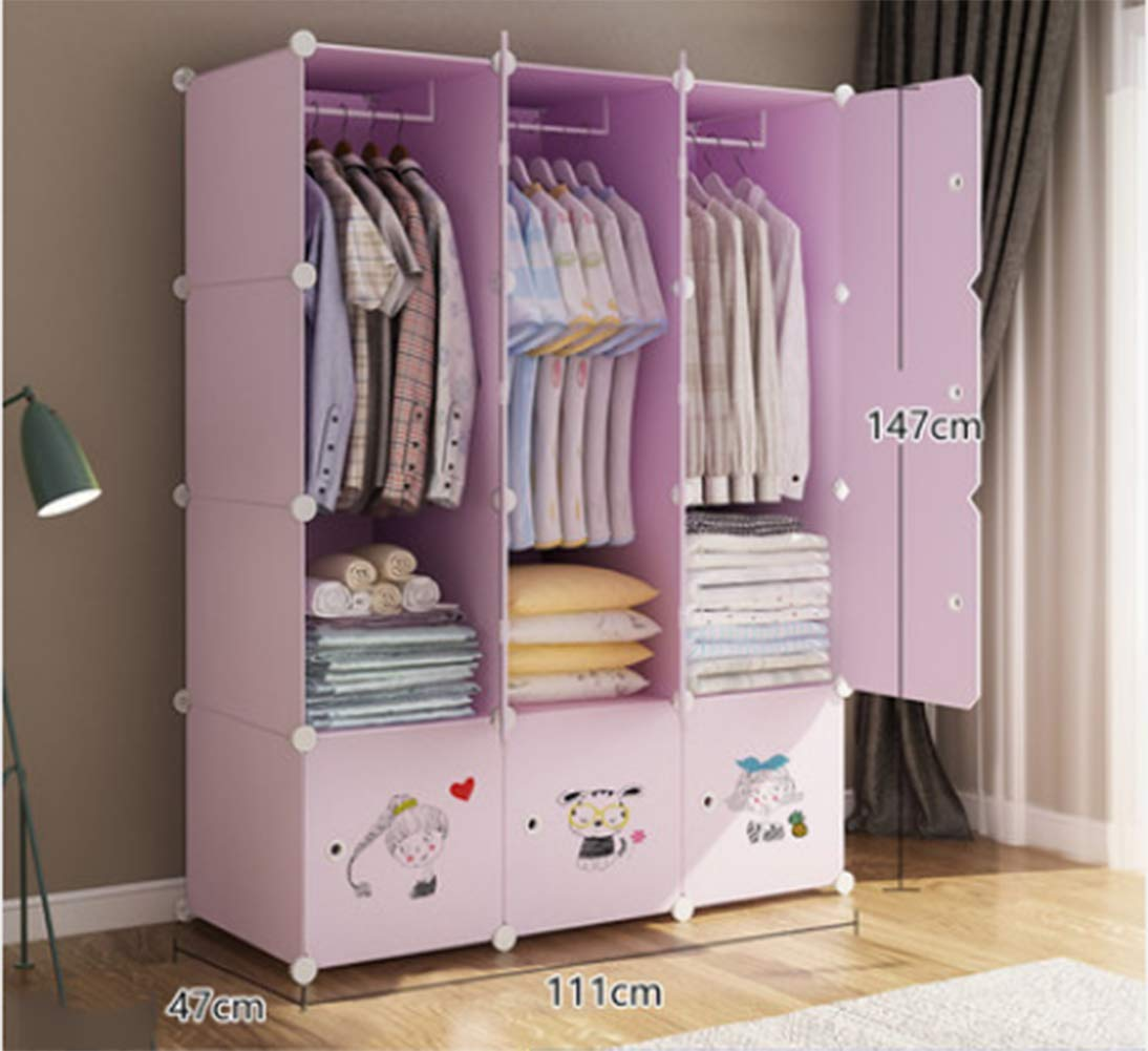 Portable Clothes Closet Wardrobe Bedroom Armoire Dresser Cube Storage Organizer,Space Saving,Ideal Storage Organizer,12Doors + 3 Grid + 3Hanging Sections