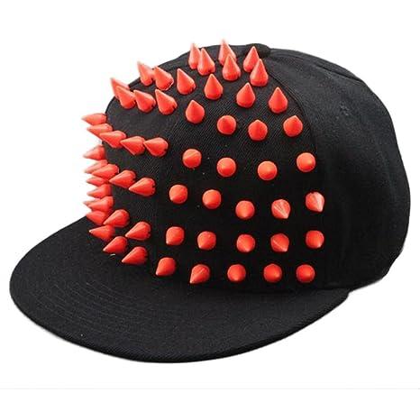Xinantime Sombrero, Rivet Gorra de Beisbol Hip-Hop Niños Niñas (Rojo)