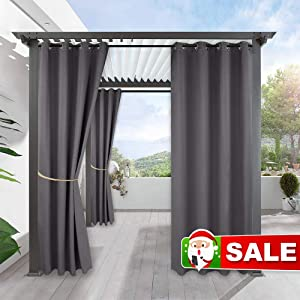 RYB HOME Waterproof Outdoor Curtains - Outdoor Gazebo Curtains Home Outside Décor for Lawn & Garden Patio Sliding Glass Door Weather Resistant Thermal Shades Drapery, 1 Panel, W 52 x L 95, Grey