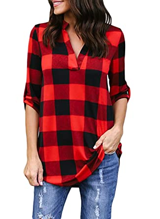4ccb884e65f Chase Secret Women Fashion Loose Striped Print Plaid Flannel Long Sleeve  Shirt Casual Blouses and Tops