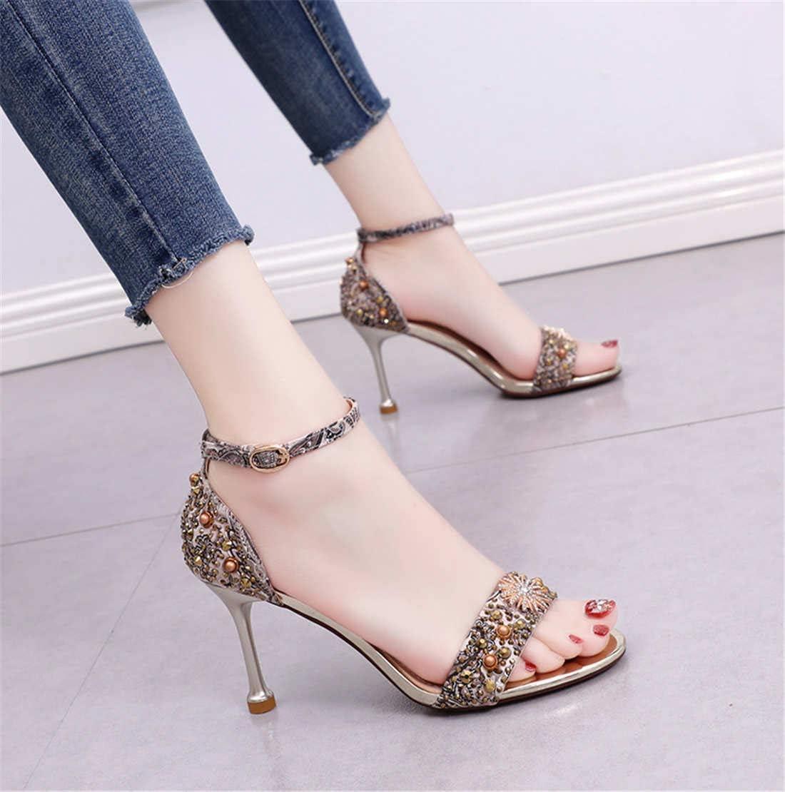 BZBZBZ Estate Tacchi Alti di 8 cm delle Donne Open Toe Cintura di Strass Belle Tallone Sandali Dress Banchetti Formato dei Pattini UE 34-39 Golden