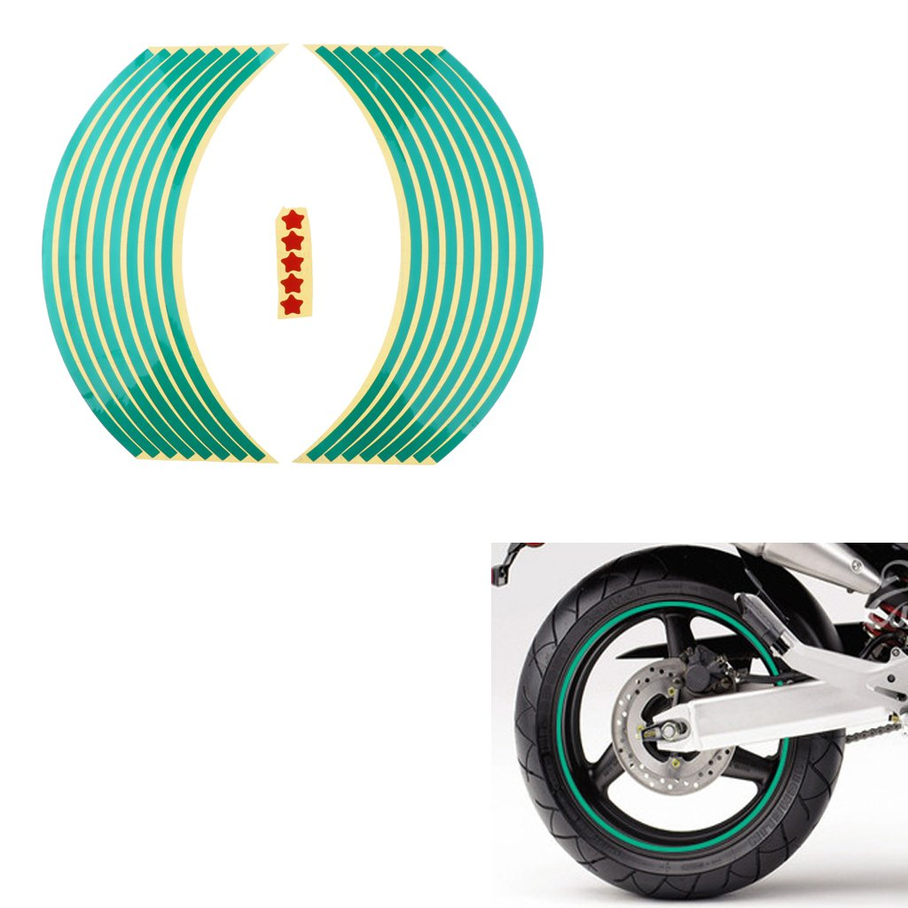 Homyl Reflective Rim Tape Wheel Stripe Decal Trim for Motorcycle wheels 17 Car wheels 16-18 Green