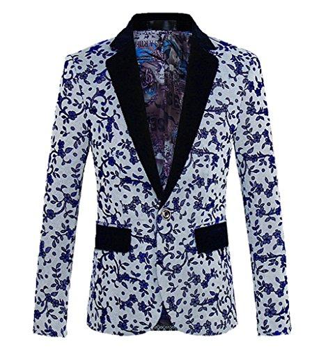 MOGU Mens 1 Button Floral Wool Blazer Sport Coat Jacket US size 42 (Tag Asian Size 4XL) floral