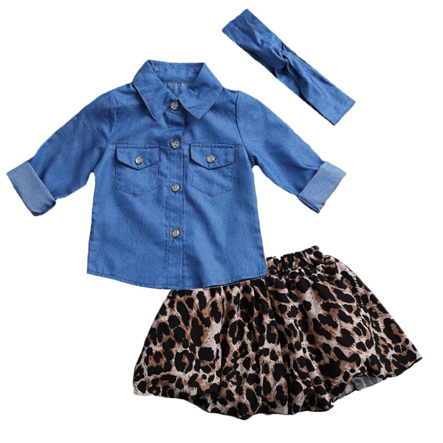 4b3e0b110b2 Family Matching Mother Daughter Denim Long Sleeve Shirt and Leopard Skirt Outfit  Set at Amazon Women's Clothing store: