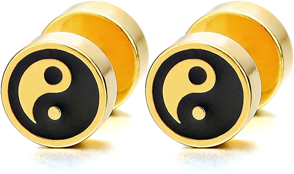 Mens Womens Gold Black Yin-yang Stud Earrings, Steel Illusion Tunnel Cheater Fake Ear Plugs Gauges