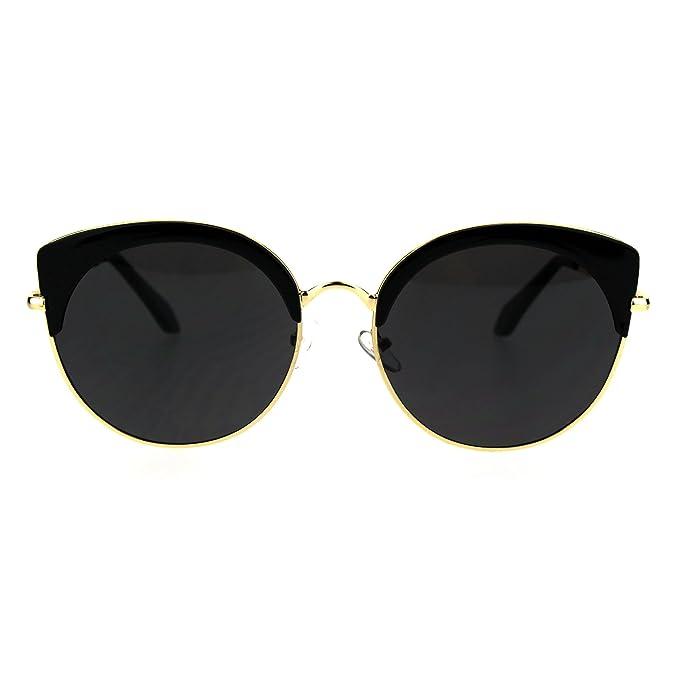6b68274d70 Womens Eye Brow Half Rim Retro Mod Round Cat Eye Tip Sunglasses All Black