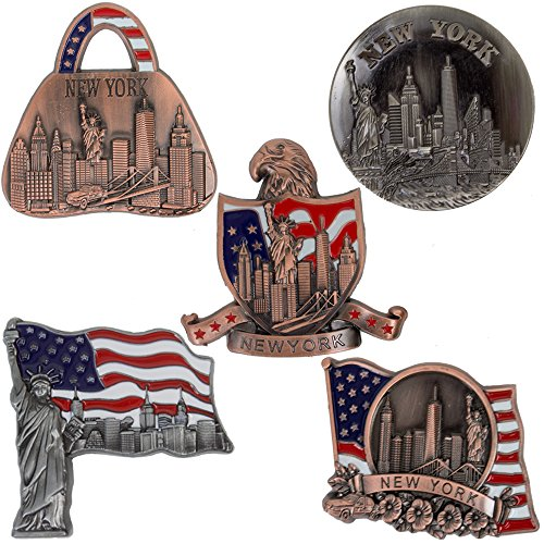 New York Souvenir - 5 Metal Fridge Magnets - Freedom Tower, Statue of Liberty, Empire State Building, Brooklyn Bridge And Landmark Skylines - Beer Opener - NY Collections - Bronze Color