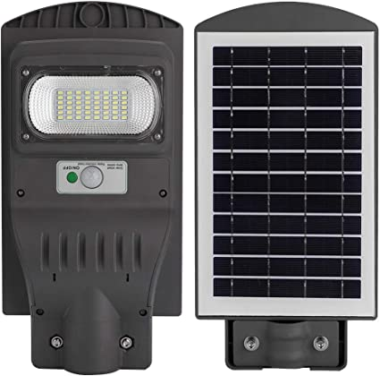 Farola solar LED, sensor de movimiento del cuerpo humano de 48 vatios Luces solares de inundación para calles, ciudades, carreteras, parques, jardines (sin poste): Amazon.es: Oficina y papelería