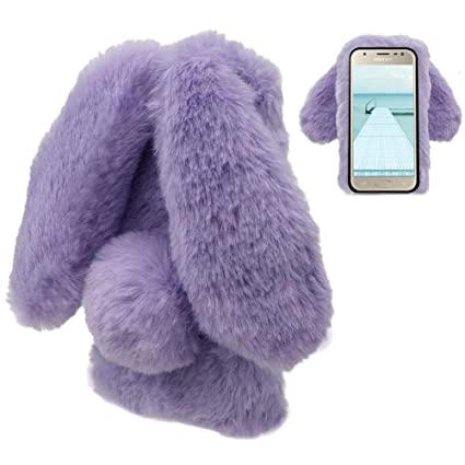 the latest 2ffaa dcaef LCHDA Samsung Galaxy J7 2018 Rabbit Case,Samsung Galaxy J7 2018 Rabbit Fur  Case Bunny Ear Phone Case for Girls Fuzzy Cute Warm Winter Soft Furry ...