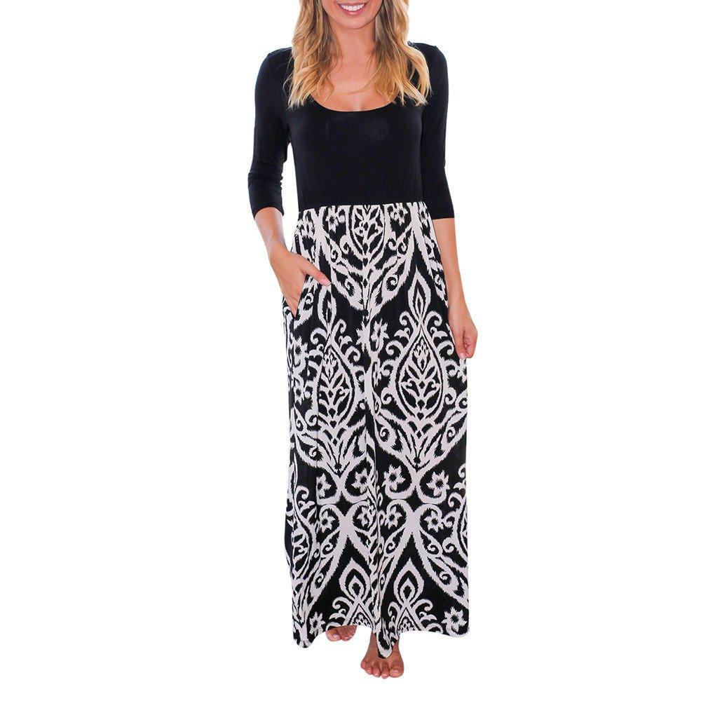 Libermall Women's Dresses Boho Printed Patchwork Long Sleeve Beach Sundress Evening Party Maxi Dress Black