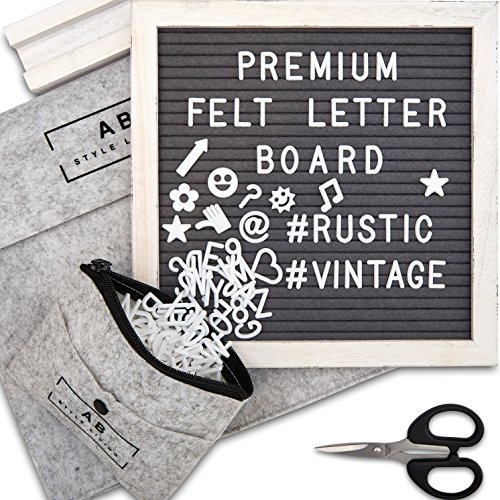Premium Felt Letter Board Gray with 10x10 Rustic White Frame -Includes 340 Changeable Letters, Numbers, Symbols & Emojis, Wooden Stand, Scissors, Plus 2 Free Felt Bags by AB STYLE LIVING