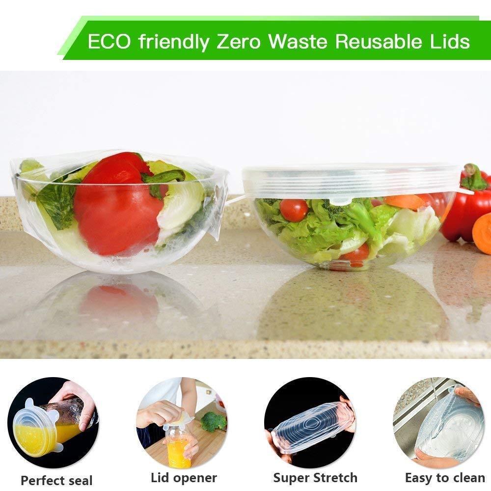 Wiederverwendbare Umweltfreundliche Stretch Kappen F/ür Alle Beh?lter Form Blasschalen Halten Lebensmittel Frisch Langlebige XZANTE Silikon Stretch Deckel 12 Silikon Kappen