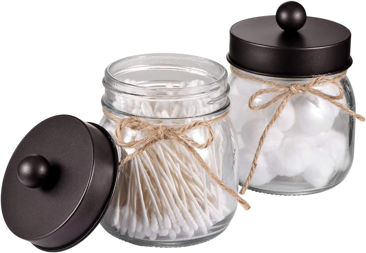 Amolliar Mason Jar Bathroom Vanity Organizer - Rustic Farmhouse Decor Bronze Bathroom Accessories - Qtip Dispenser Holder Canister Glass for Q-Tips,Cotton Swabs,Rounds,Ball,Flossers/Bronze,2-Pack