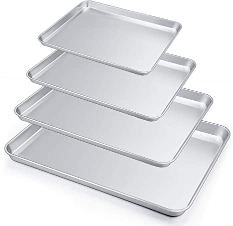 Amazon Com P P Chef Baking Sheets Set Of 4 Baking Trays Pans Cookie Sheets Stainless Steel Various Size Large To Small Healthy Non Toxic Easy Clean Dishwasher Safe Kitchen Dining