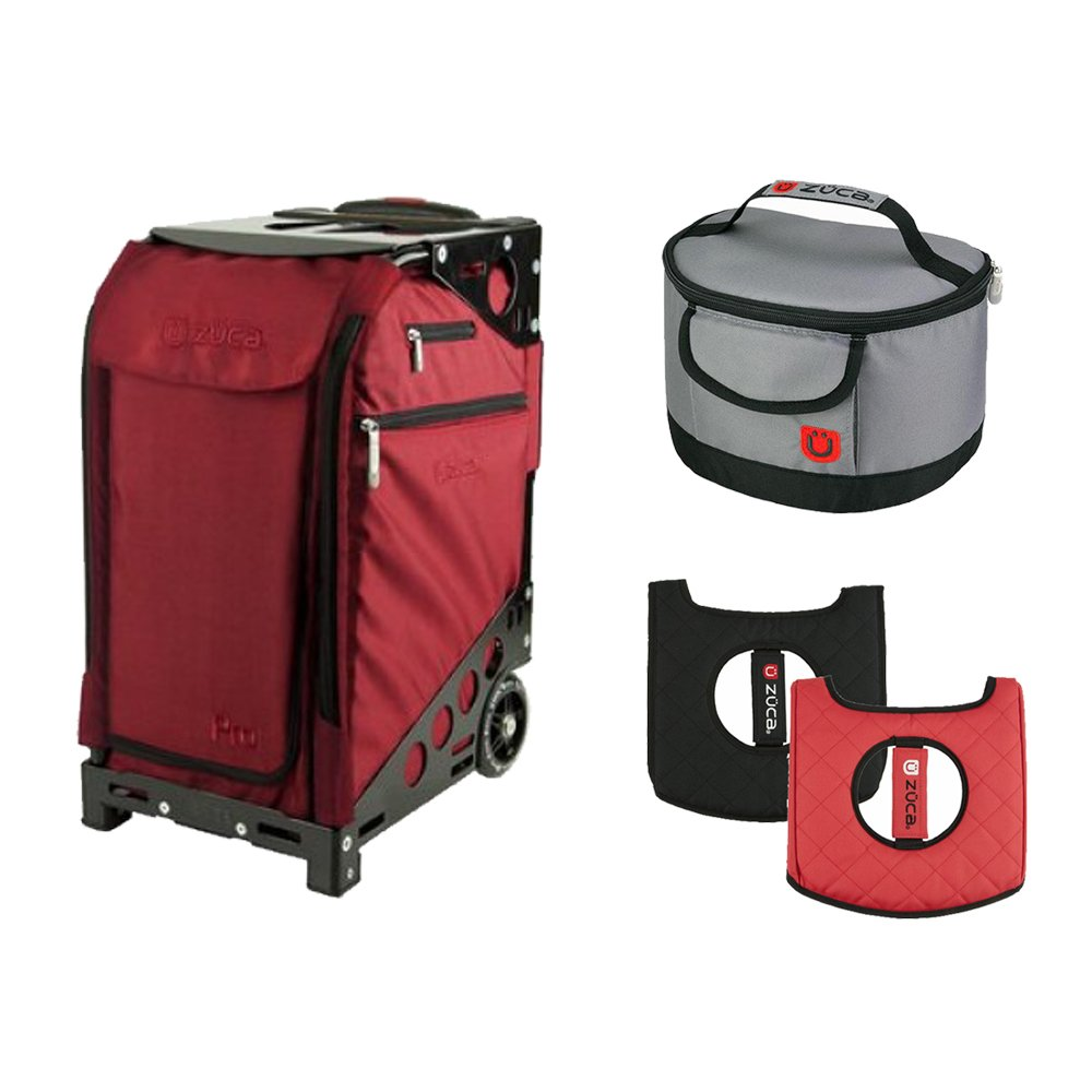 Zuca Ruby Red Pro Travel Case with Black Frame w. Black Frame,Flashing Wheels, Gift Seat Cushion & Lunchbox by ZUCA