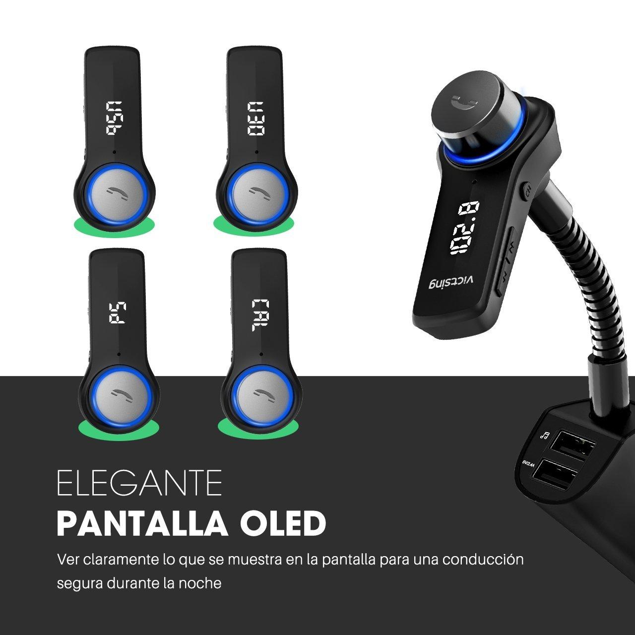 VICTSING Transmisor FM Bluetooth para Coche Manos Libres Navegación de Voz Adaptador de Radio Pantalla OLED Reproductor MP3 Mechero Coche Dual USB Cargador ...
