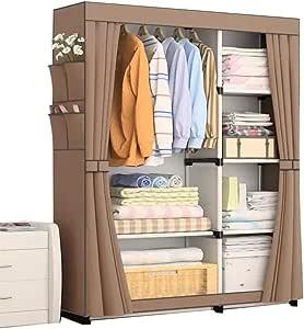 Portable Wardrobe Clothes Storage Organizer Brown