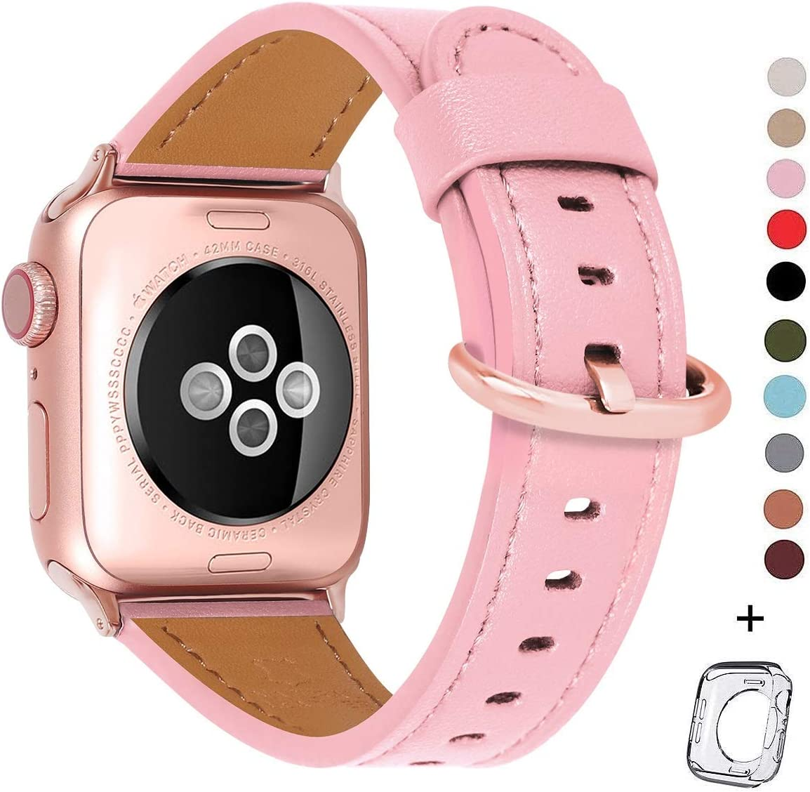 HUAFIY Compatible iWatch Band 38mm 40mm, Top Grain Leather Band Replacement Strap iWatch Series 6/ 5/ 4/ 3/2/1,SE,Sport, Edition (pink+ rose gold buckle, 38mm40mm)
